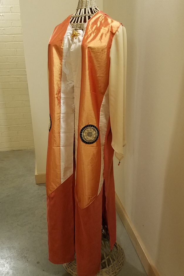 Long robe created from scarves and vintage fabric.