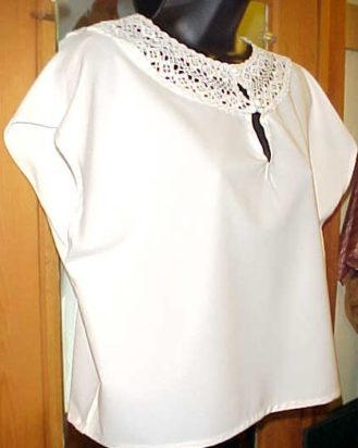 Silk Blouse with lace collar